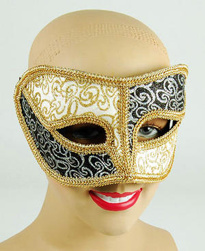 Black And White Mask With Gold Trim Masquerade Fancy Dress