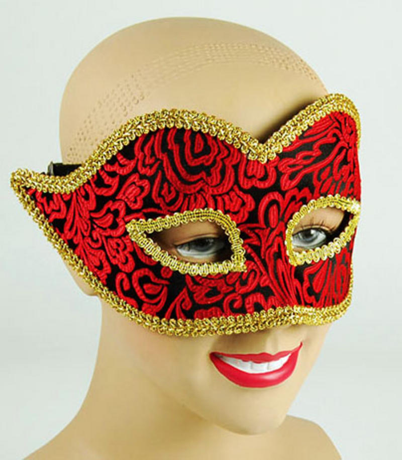 Black Gold Red Mask Masquerade Fancy Dress