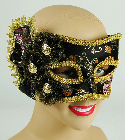 Black Pattern Ball Mask With Side Decoration Fancy Dress