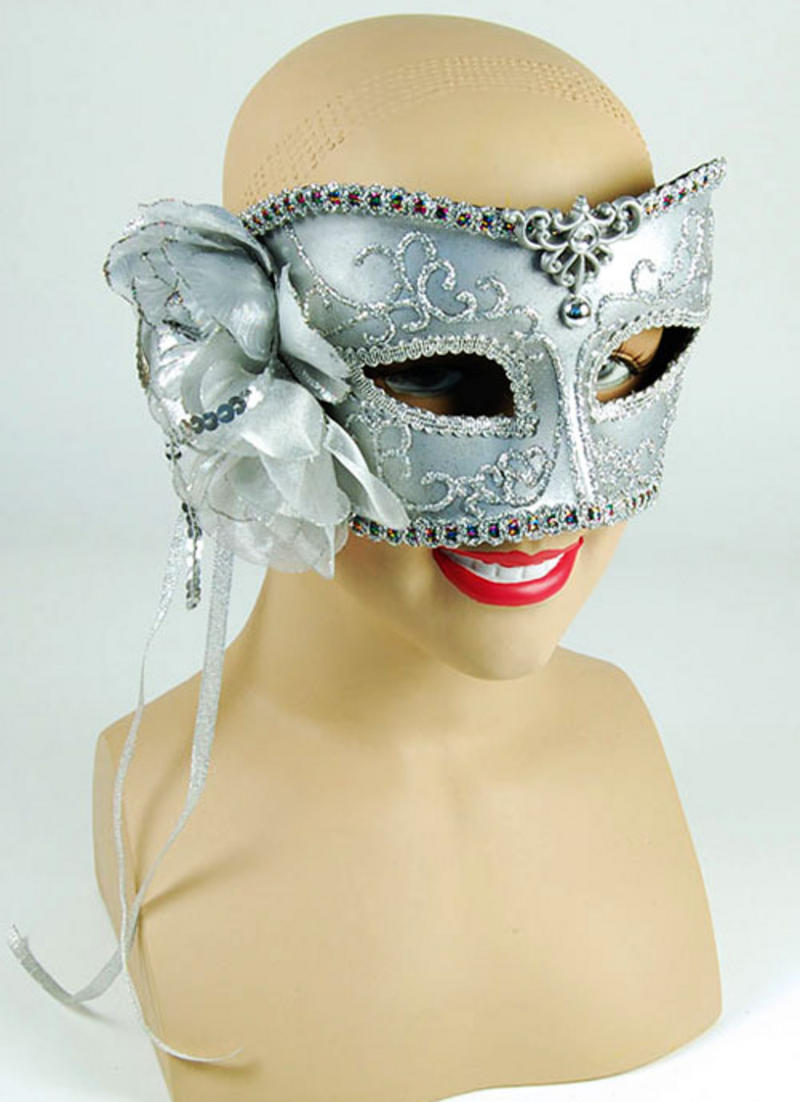 Silver Mask With Rose Masquerade Venetian Ball Fancy Dress