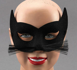 Black Glitter Cat Mask With Whiskers Halloween Fancy Dress