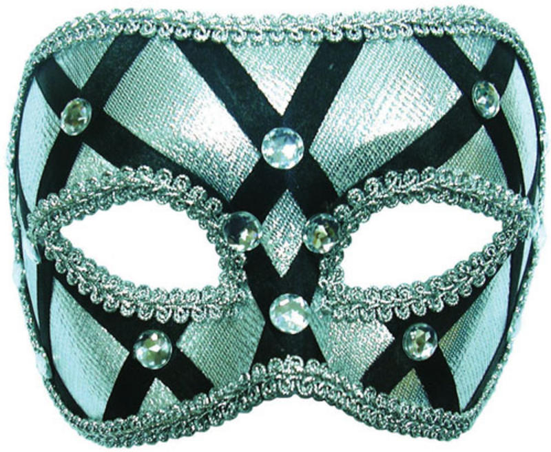 Silver And Black Mask Masquerade Fancy Dress