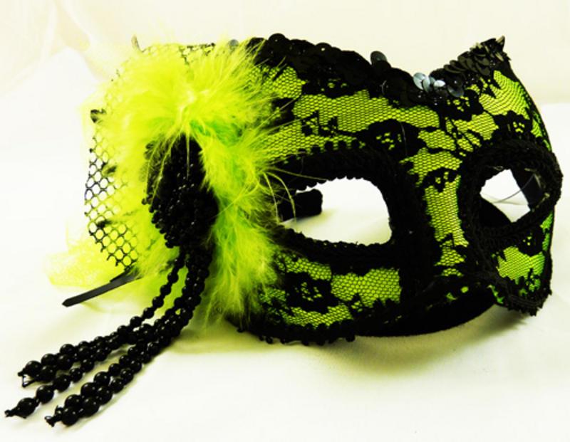 Green & Black Lace Eye Face Mask Fancy Dress