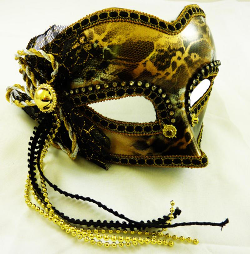 Glazed Look Gold Decoration Face Eye Mask Fancy Dress