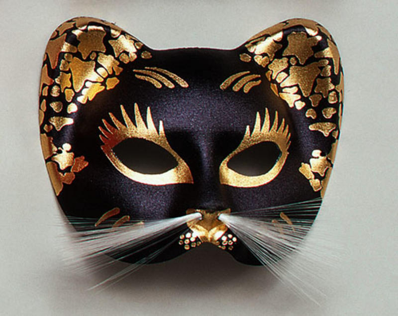 Black Gold Cat Mask Masquerade Fancy Dress