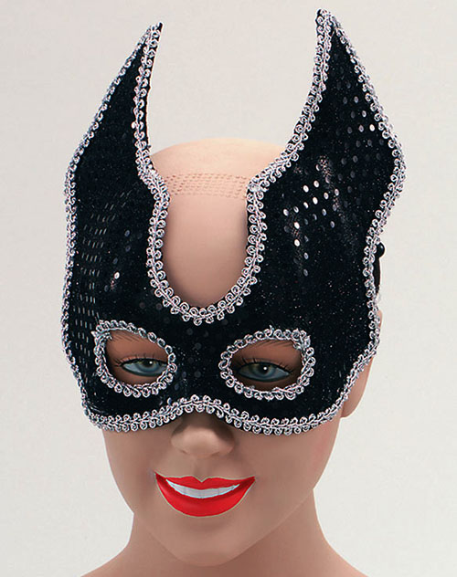 Black Sequin Half Face Mask & Headband Halloween Masquerade Fancy Dress