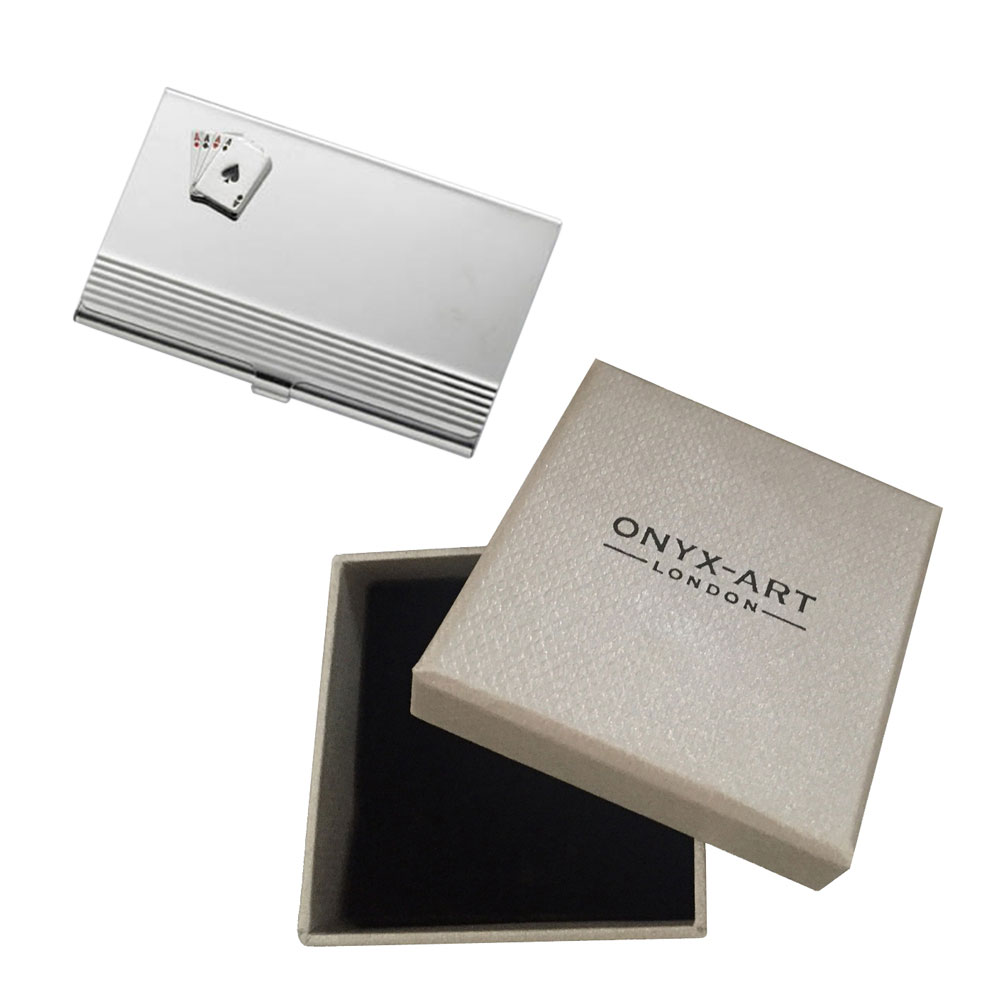 Ace Card Casino Silver Business Card Holder In Gift Box ...