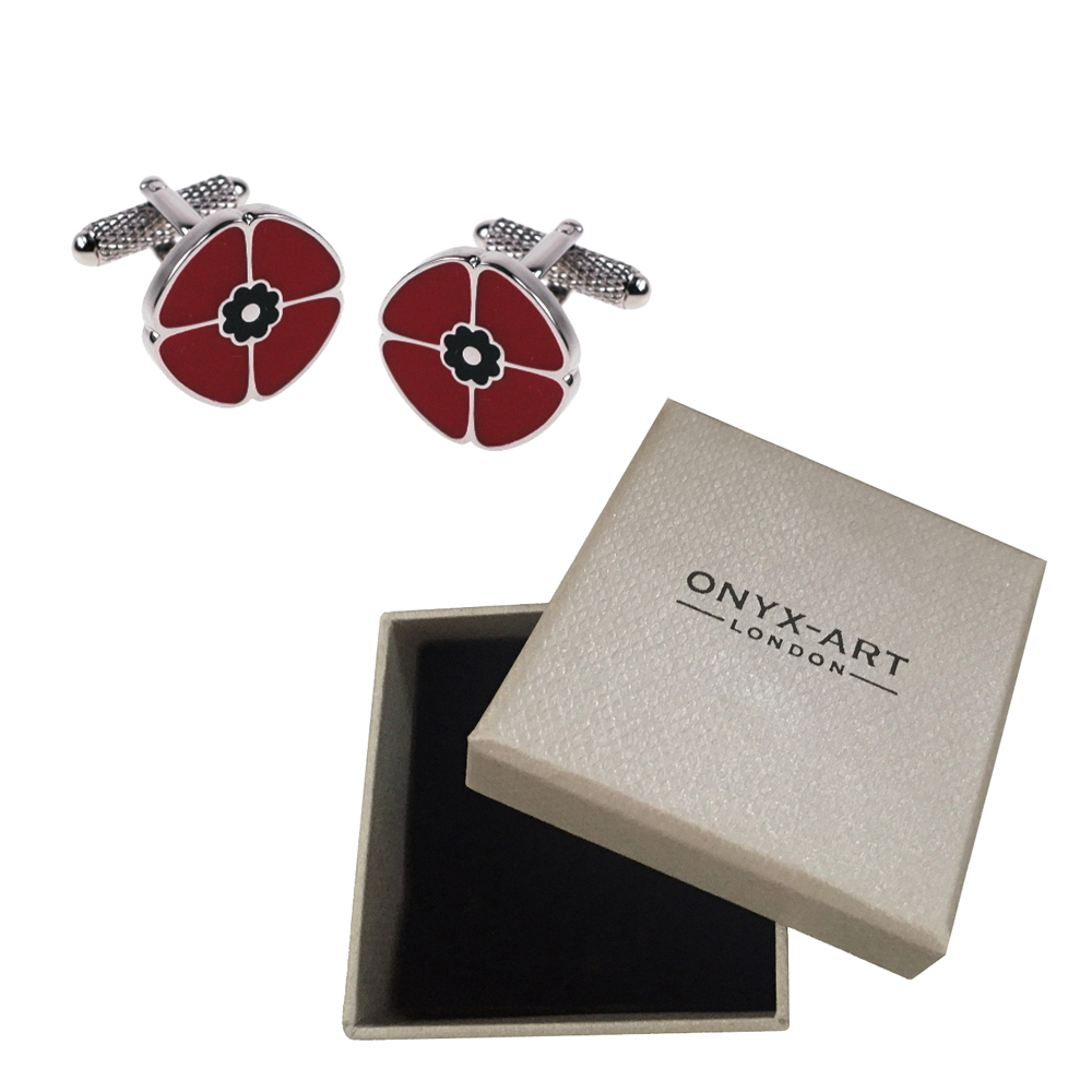 Equilibrium Mens Red Poppy Rememberance Cufflinks Boxed Gift