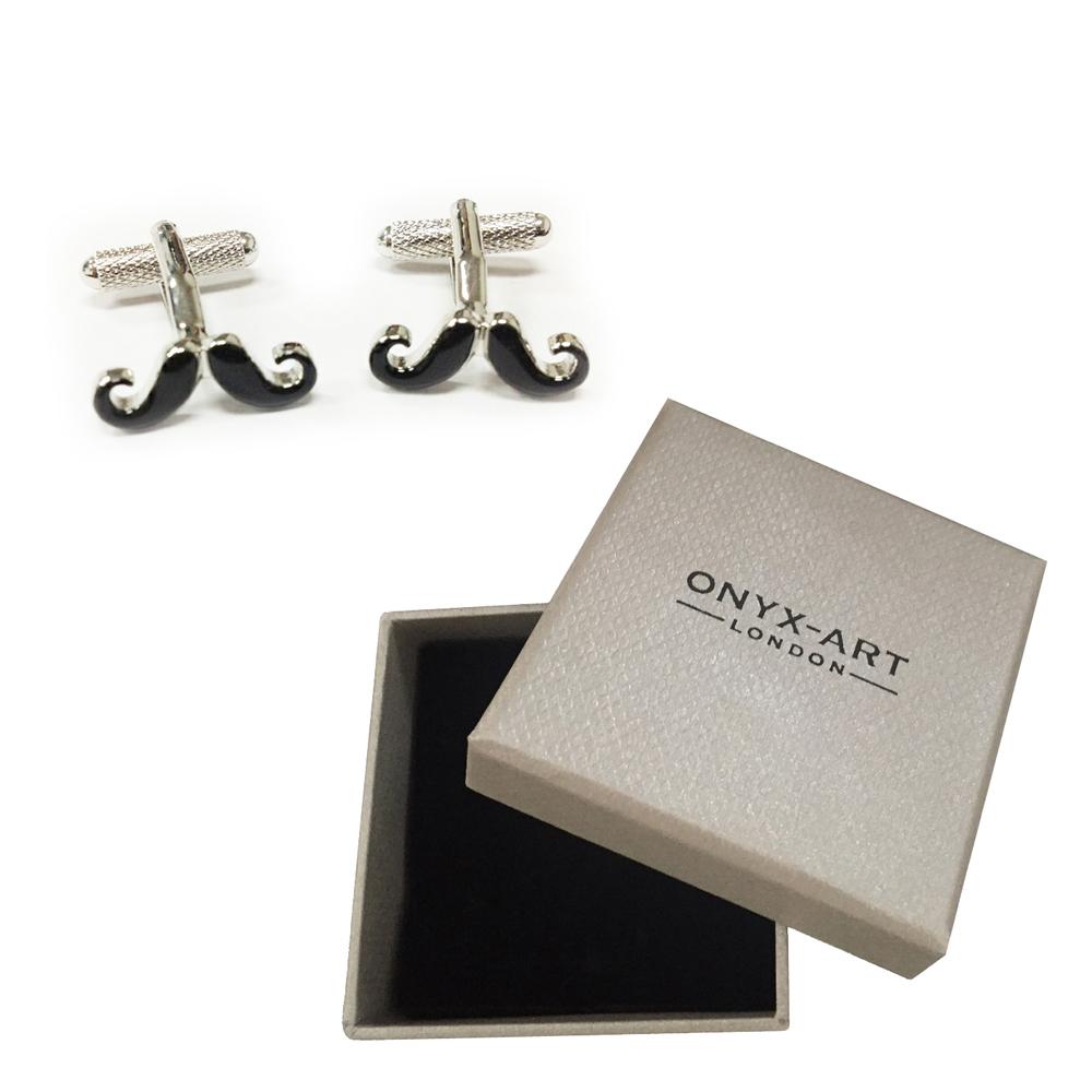Black moustache cufflinks fun novelty gift
