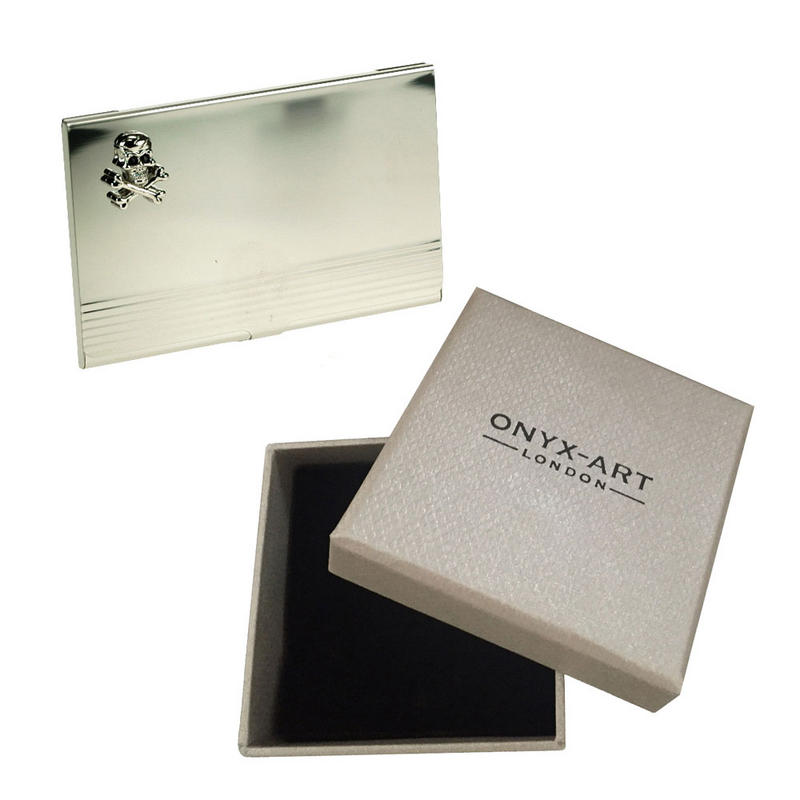 Skull Crossbone Silver Business Card Holder In Gift Box