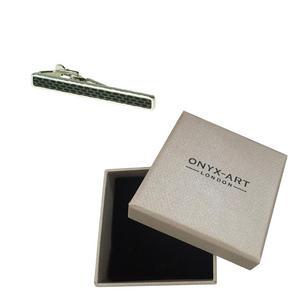 Black Silver Design Fashion Tie Bar In Deluxe Gift Box