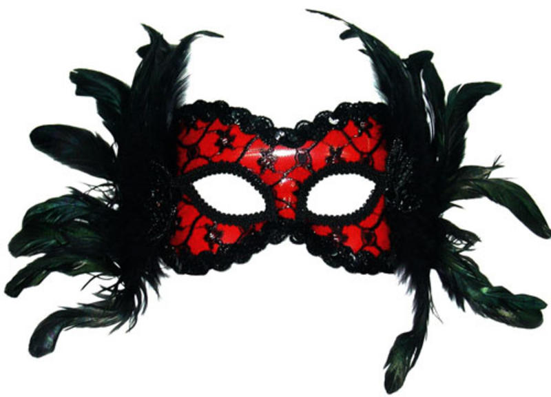 Red & Black Mask With Feather Headband Fancy Dress