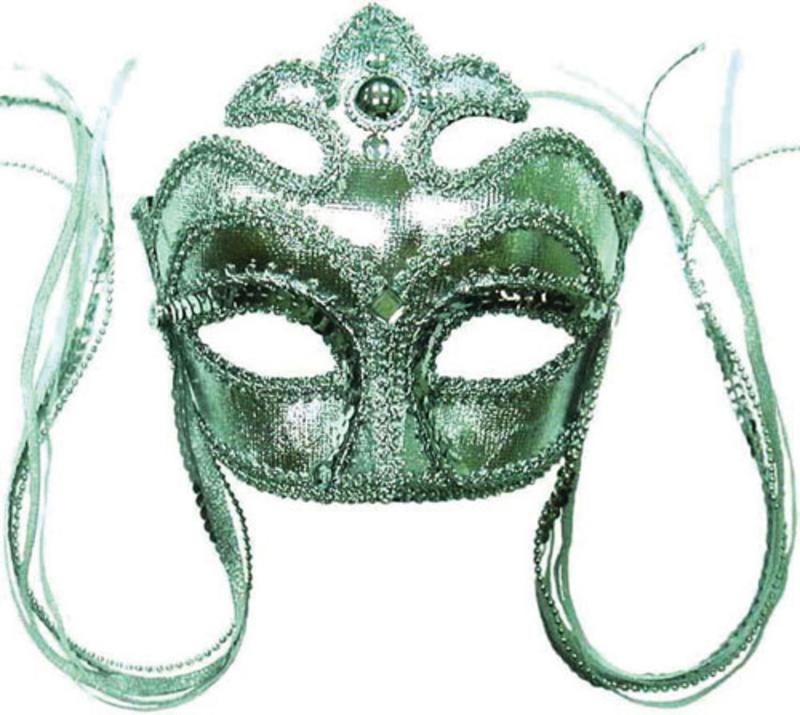 Silver Masquerade Face Eye Mask - Fancy Dress