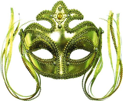 Gold Masquerade Face Eye Mask - Fancy Dress