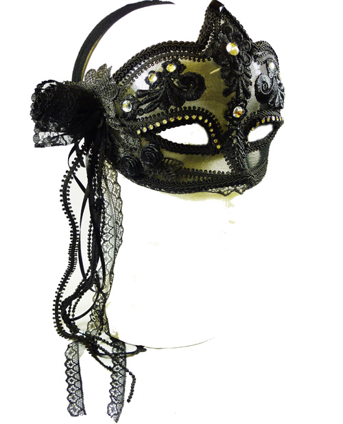 Black Flower Transaparent Mask Fancy Dress