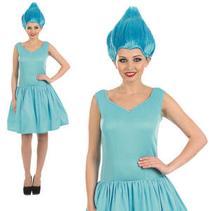 Ladies Blue Neon Pixie Fairy Fancy Dress Costume & Wig Elf Adult Womens UK 8-22