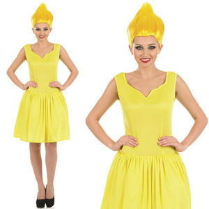 Ladies Yellow Neon Pixie Fairy Fancy Dress Costume & Wig Elf Womens UK 8-30