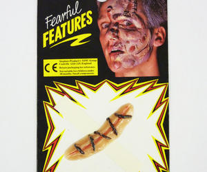 Fake Wound With Stitches Zombie Monster Halloween Fancy Dress