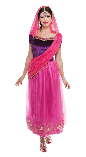 Ladies Bollywood Fancy Dress Costume Womens Indian Outfit UK 10-14