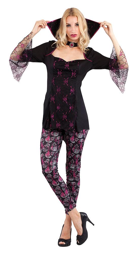 Ladies Vampiress Skull Design Fancy Dress Costume Halloween Outfit UK 10-14