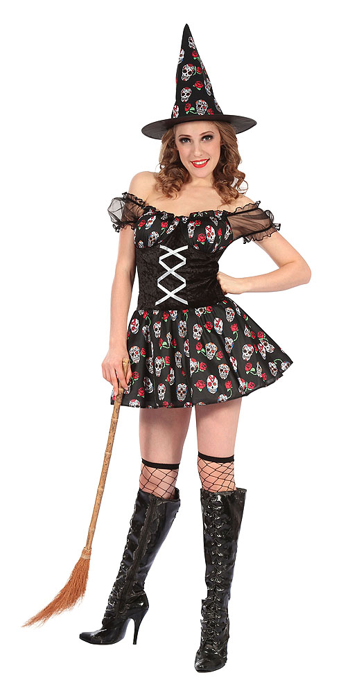 Ladies Day Of The Dead Witch Fancy Dress Costume Skull Design UK 10-14