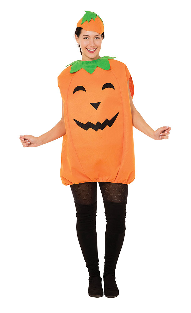 Ladies Orange Pumpkin Fancy Dress Costume & Hat Halloween Outfit UK 10-14