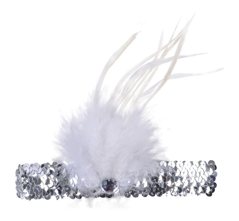 Ladies Silver Flapper Headband With Gem & Feather For Fancy Dress Costume