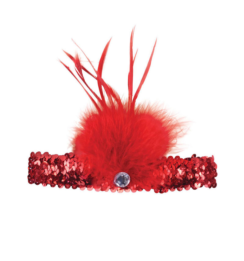 Ladies Red Flapper Headband With Gem & Feather For Fancy Dress Costume