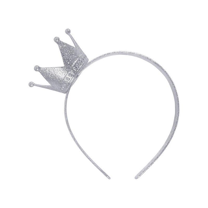 Silver Crown On Headband Novelty Princess Fancy Dress Costume Prop Mini Hat