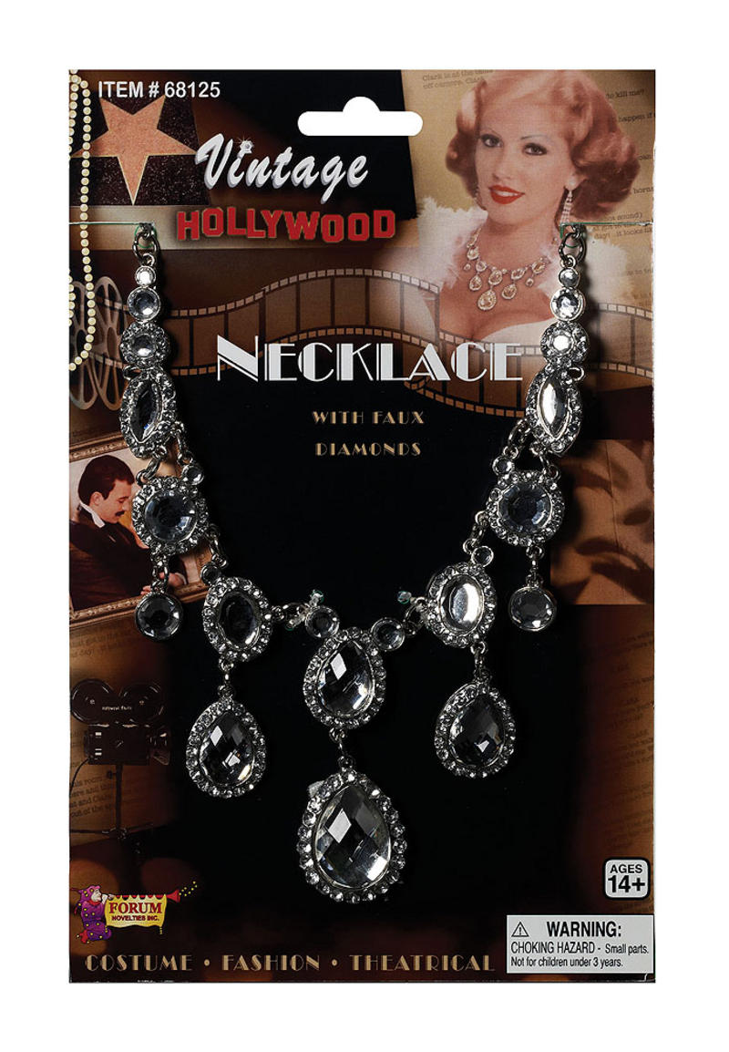 Ladies Vintage Style Rhinestone Necklace For Hollywood Glamour Fancy Dress