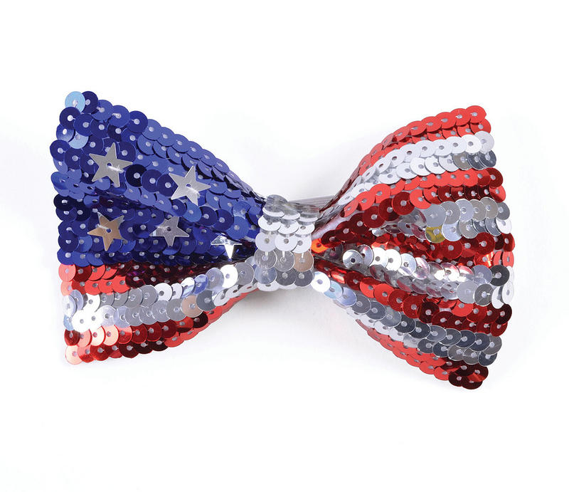 Sequin Stars & Stripes Bow Tie On Elastic American 4th of July Patriotic
