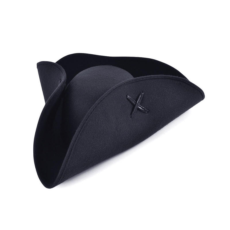 Black Felt  Pirate Tricorn Hat Fancy Dress Costuem Captain Prop