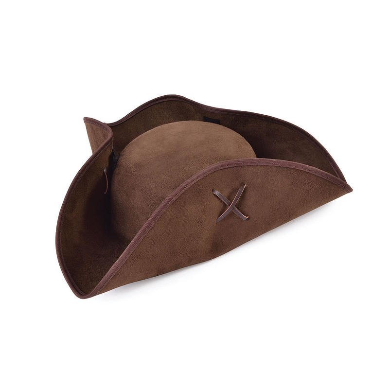 Brown Suede Pirate Tricorn Hat Captains Cap Fancy Dress Costume Prop