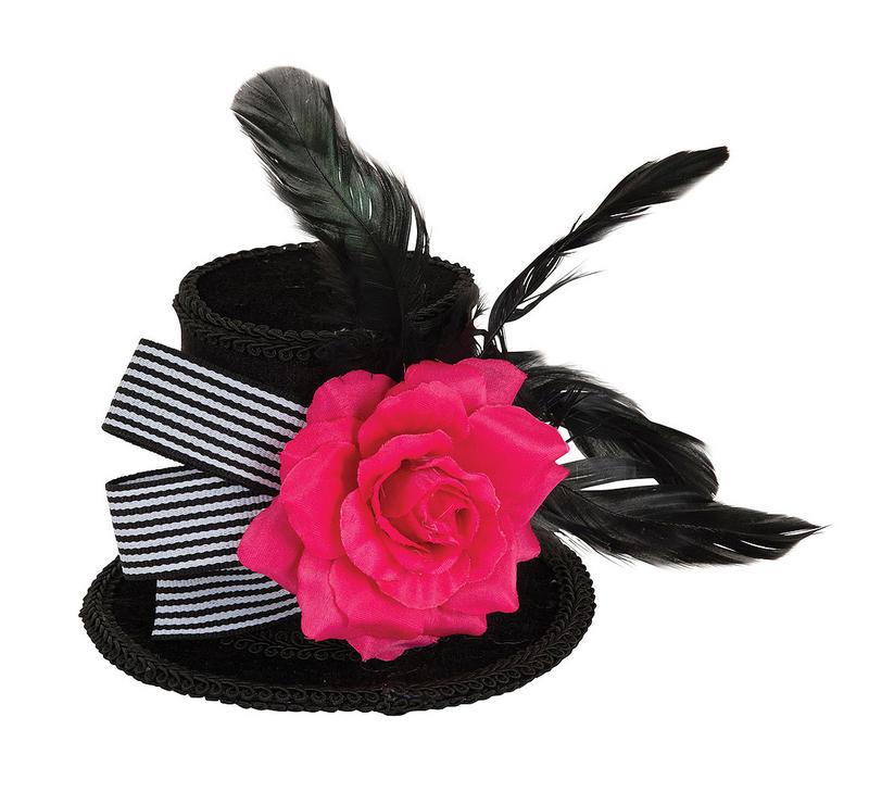 Black Harlequin Mini Top Hat With Flower Halloween Fancy Dress Costume Prop