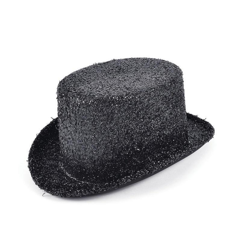 Adult Black Lurex Top Hat Ringmaster Hen Do Fancy Dress Costume Prop