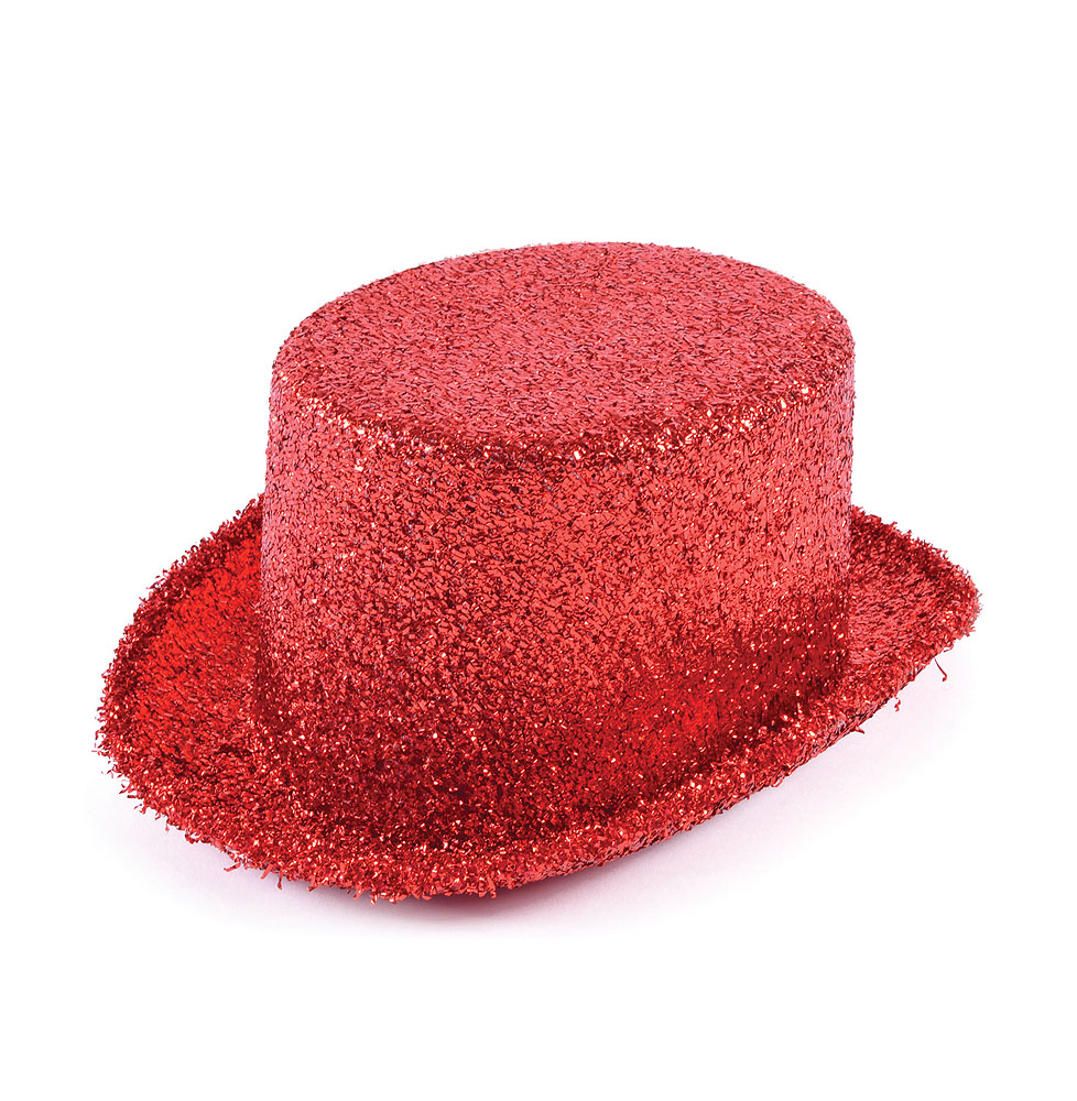 Adult Red Lurex Top Hat Ringmaster Hen Do Fancy Dress Costume Prop
