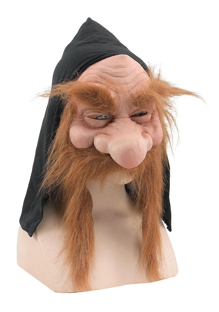Scary Gnome Troll Mask With Hood/Beard Brown Fancy Dress Prop