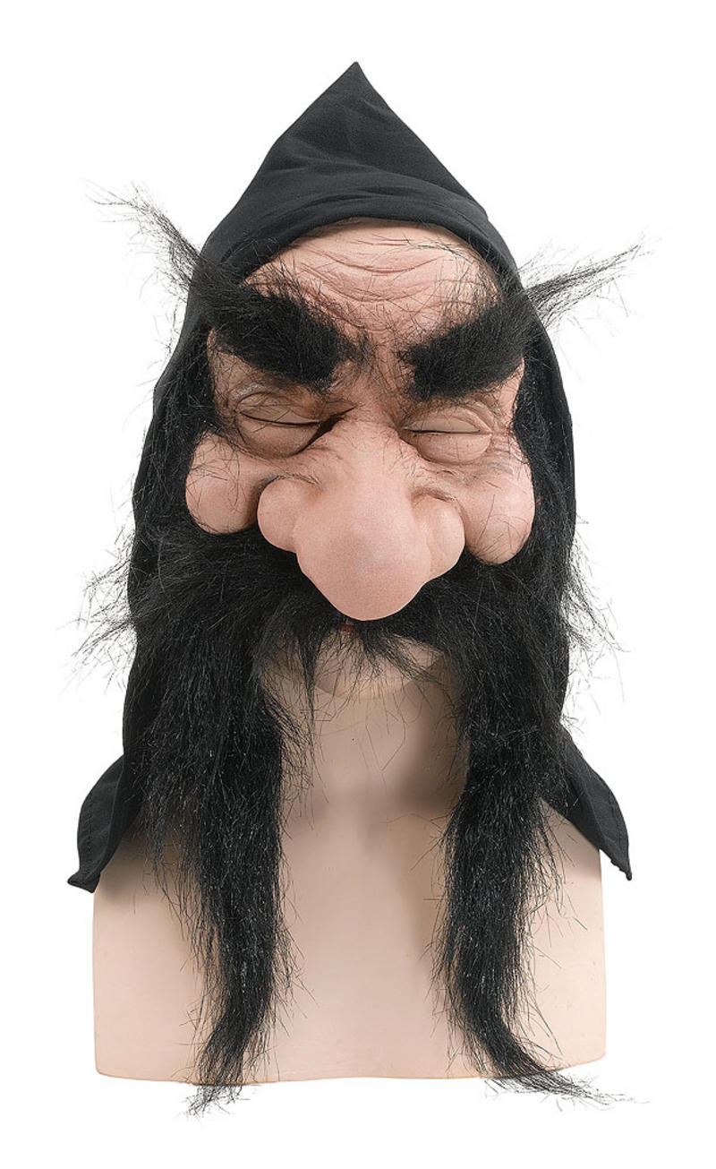 Scary Gnome Troll Mask With Hood/Beard Black Fancy Dress Prop