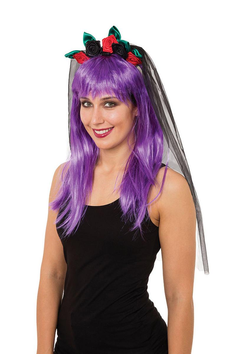 Ladies Black Veil With Roses Halloween Bride Fancy Dress Costume Prop