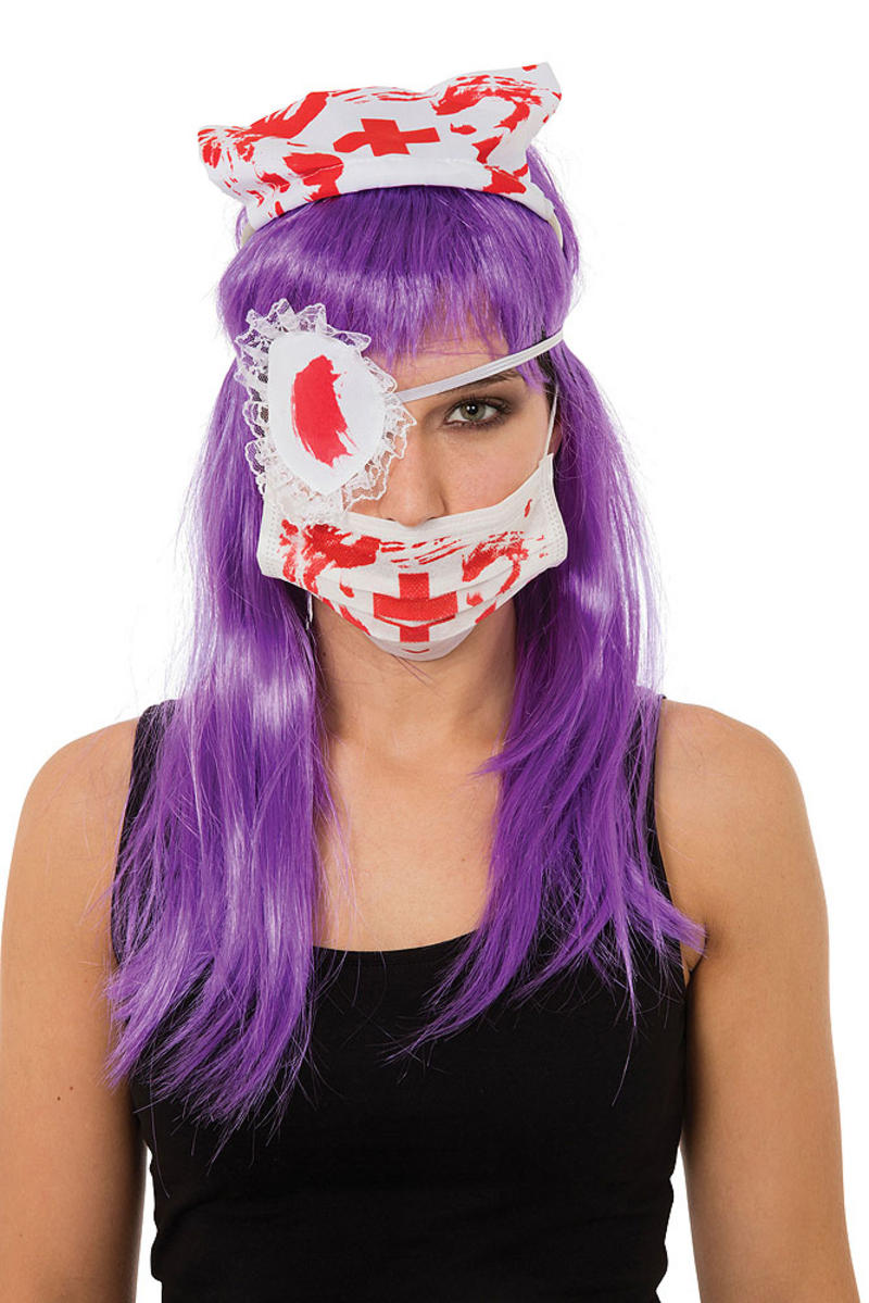 Ladies Bloody Nurse Halloween Fancy Dress Costume Kit Patch, Mask & Hat