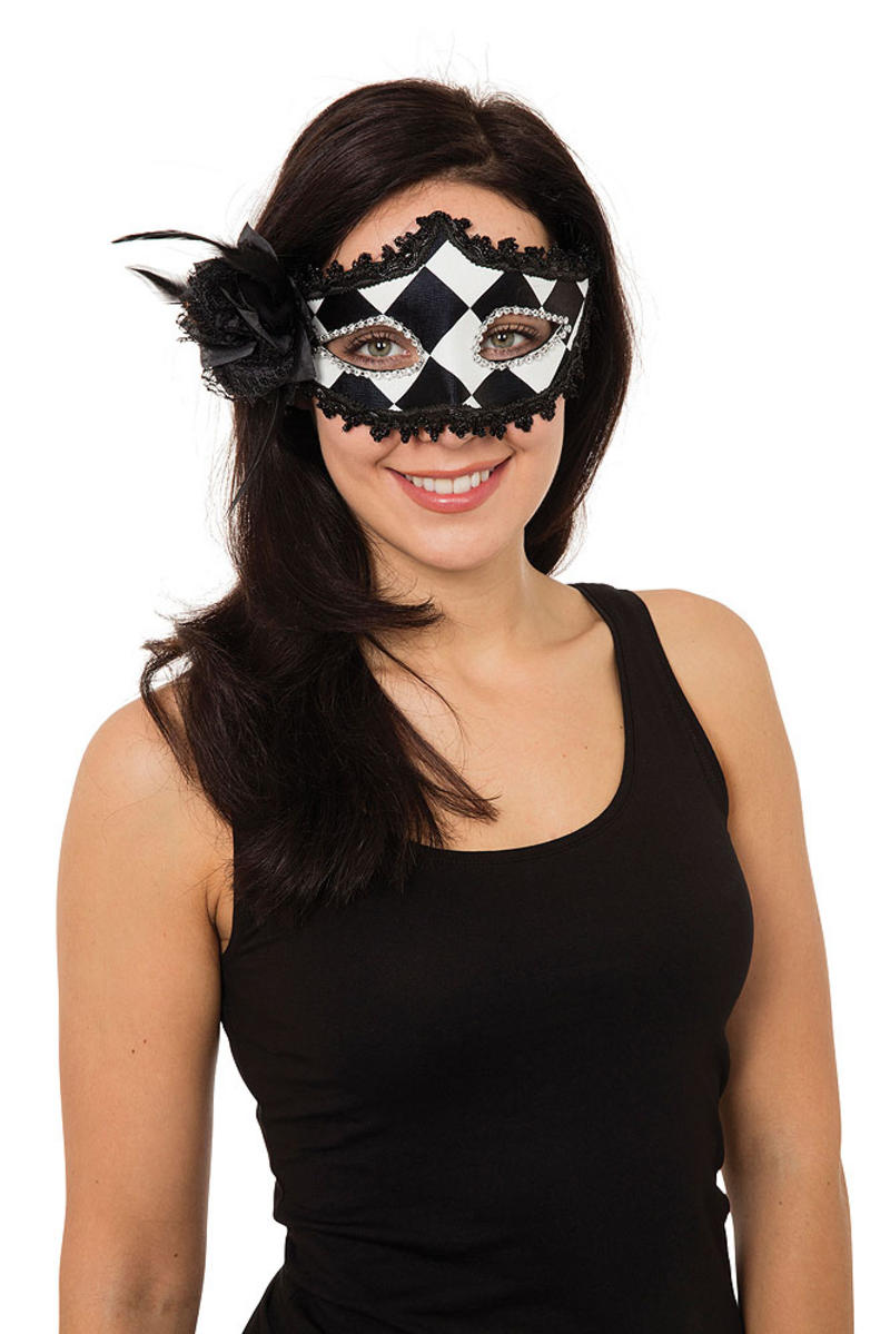 Ladies Harlequin Eyemask W/Side Feather Masquerade Ball Party Fancy Dress Prop