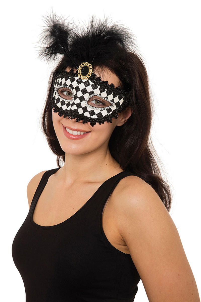 Ladies Harlequin Eyemask W/Tall Feather Masquerade Ball Party Fancy Dress Prop