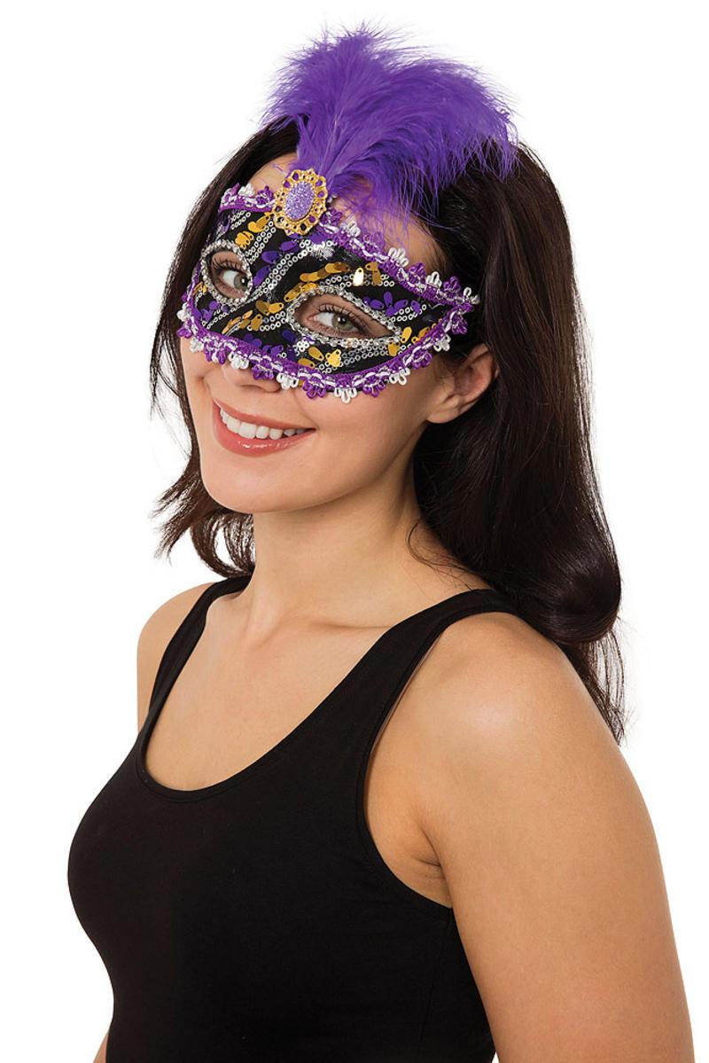 Ladies Purple Gold Masuerade Ball Eye Mask Fancy Dress Prop Venetian