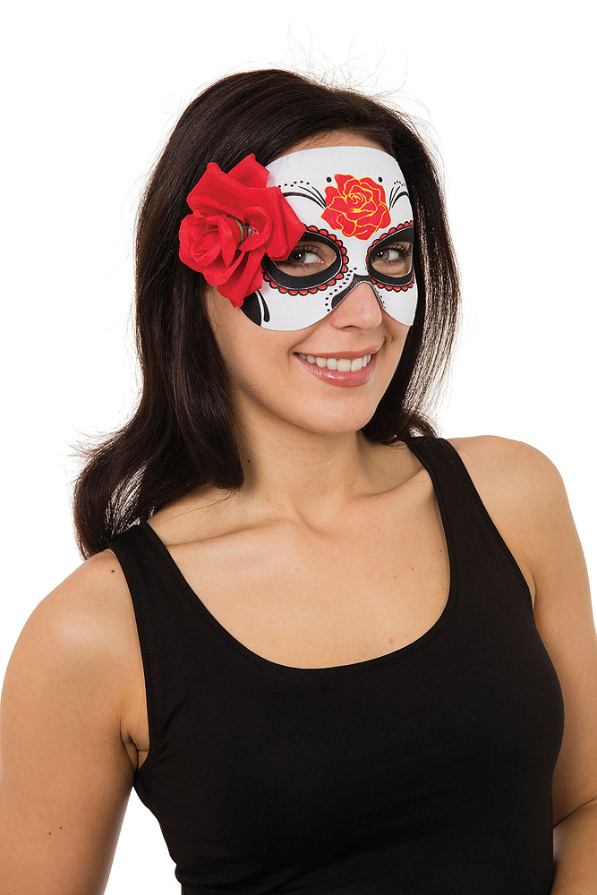 Ladies Day Of The Dead Masquerade Ball Fancy Dress Mask Womens Halloween