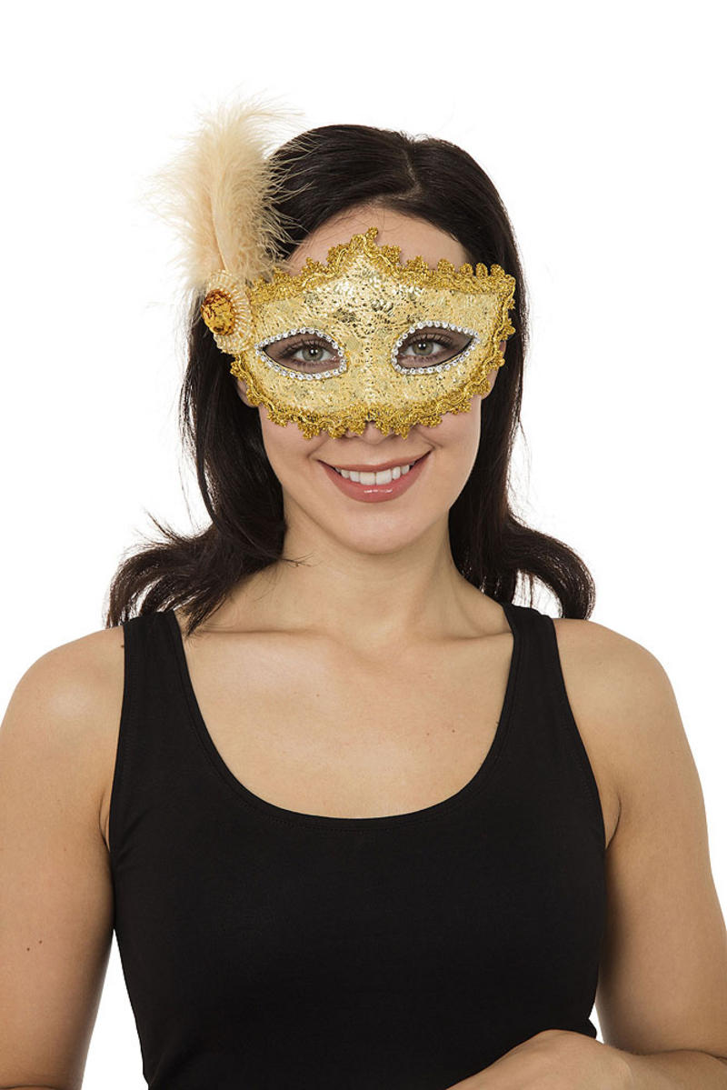 Gold Braided Masquerade Ball Mask Venetian Fancy Dress