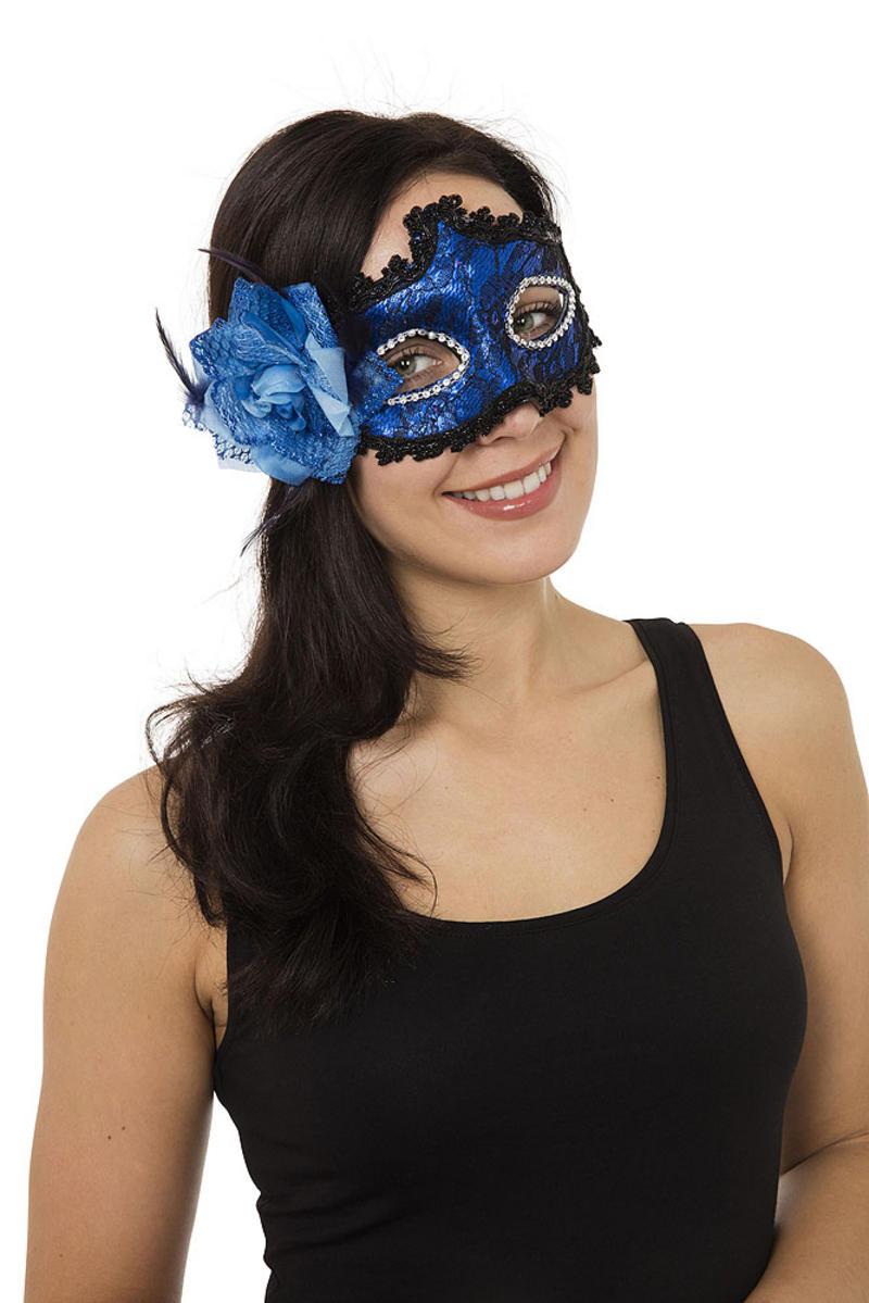 Blue Braided Masquerade Ball Mask Venetian Fancy Dress