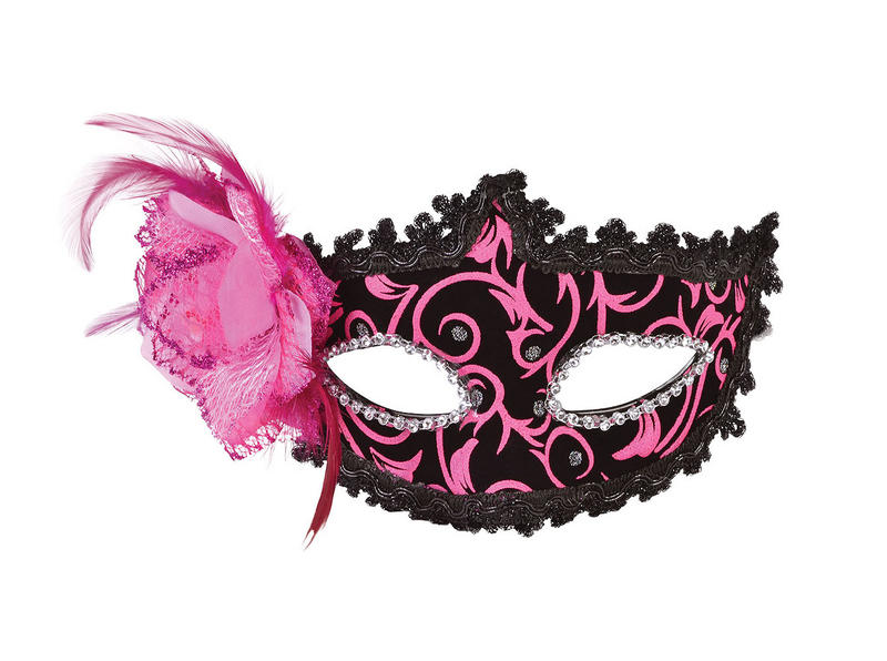 Ladies Pink Black Masqeurade Ball Eye Mask With Feather Venetian Fancy Dress