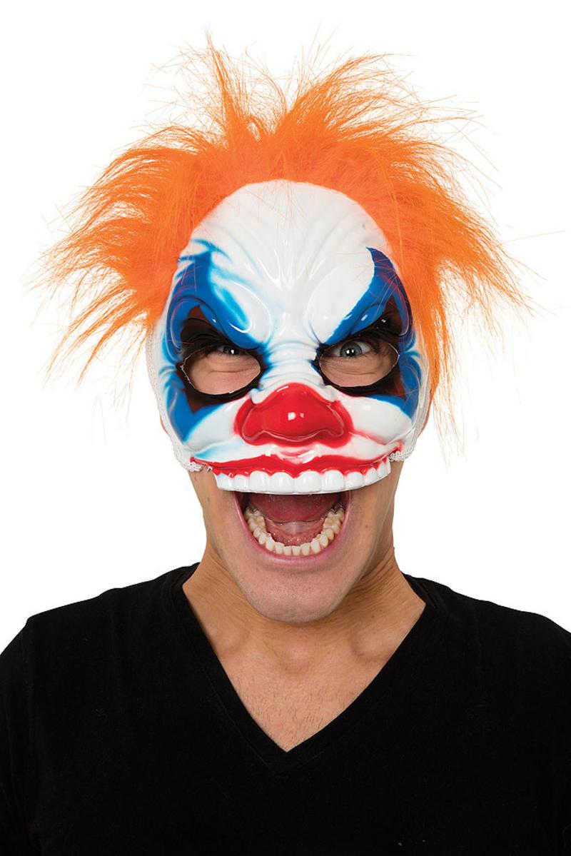 Scary Half Face Clown Mask & Hair Halloween Fancy Dress Costume Prop
