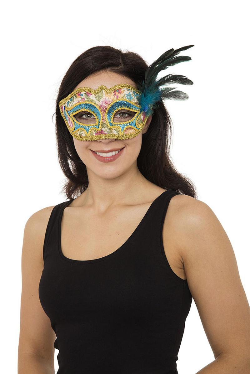 Ladies Turquoise & Gold Masquerade Ball Mask Venetian Fancy Dress Prop
