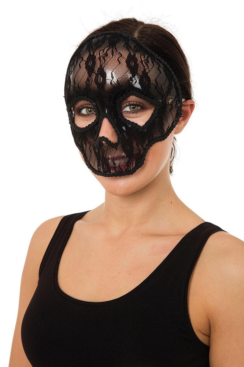Ladies Skull Mask Lace Halloween Fancy Dress Costume Prop Skeleton